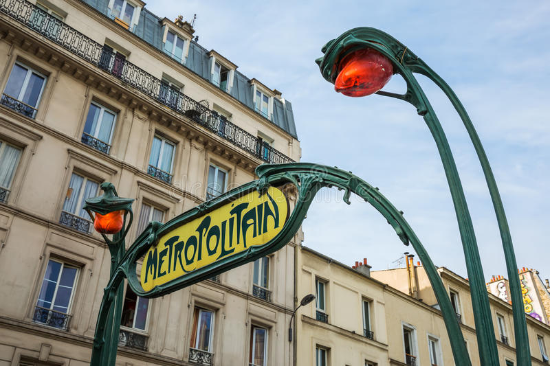 Sign of the Parisian Metro. Historic sign of the Parisian Metro in Paris, France royalty free stock images