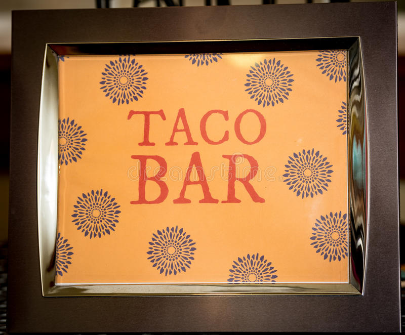 Framed sign that says taco bar royalty free stock image