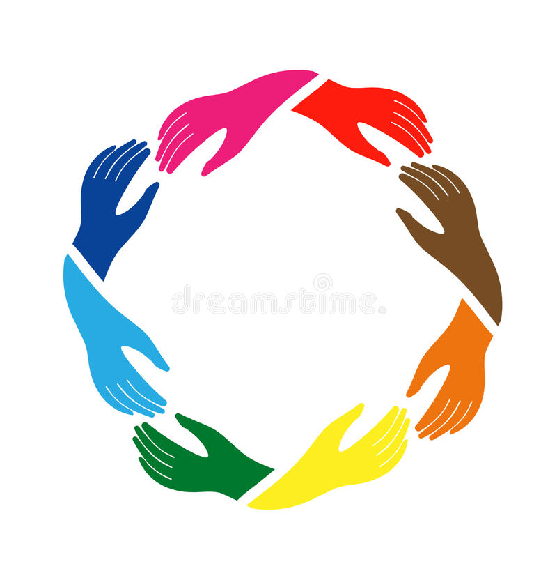 Hands on friendship logo. Hands in circle in holding action vector illustration