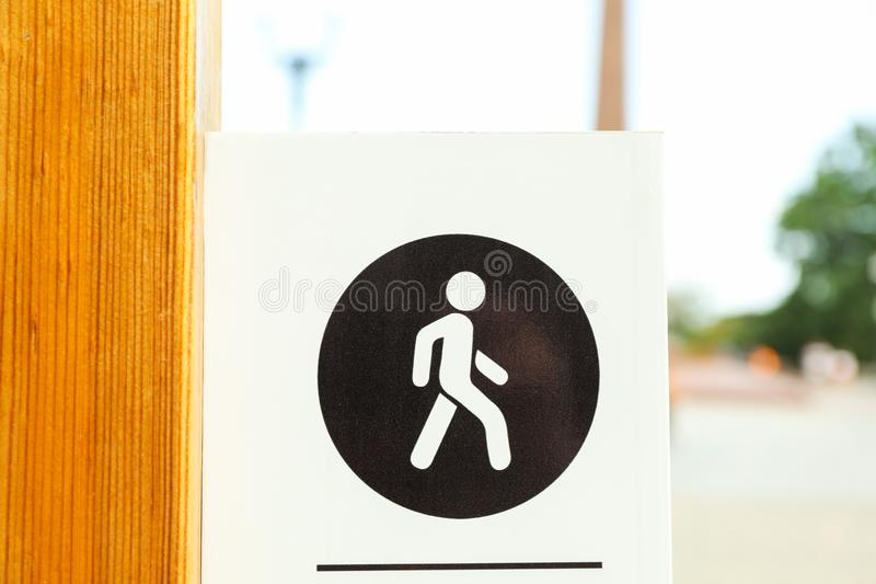 Sign for pedestrians in park. Close up royalty free stock photo