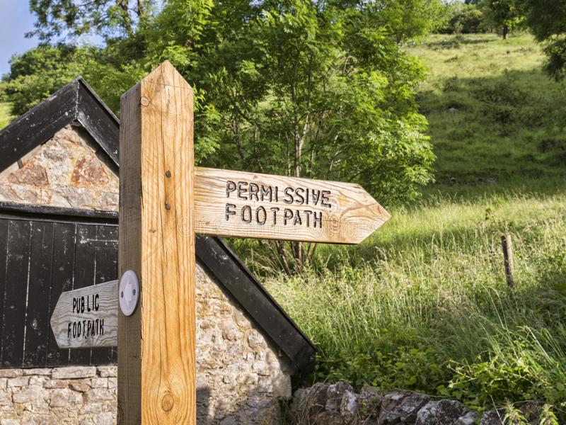 Sign Mendip Way Somerset. Sign for permissive footpath on the Mendip Way, near Cheddar, Somerset, England, UK stock image