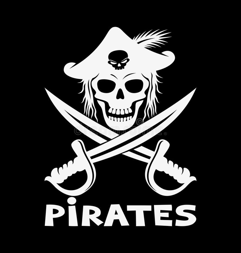 Sign of pirates. Vector sign of pirates on black background stock illustration