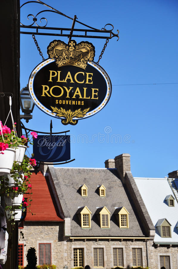 Sign in Place Royale, Quebec City stock image