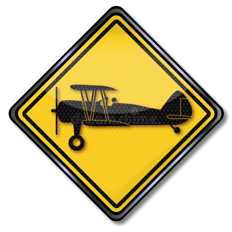 Sign plane and biplane royalty free illustration