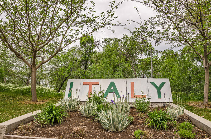 Sign and Plants for Italy stock image. Image of green - 71208559