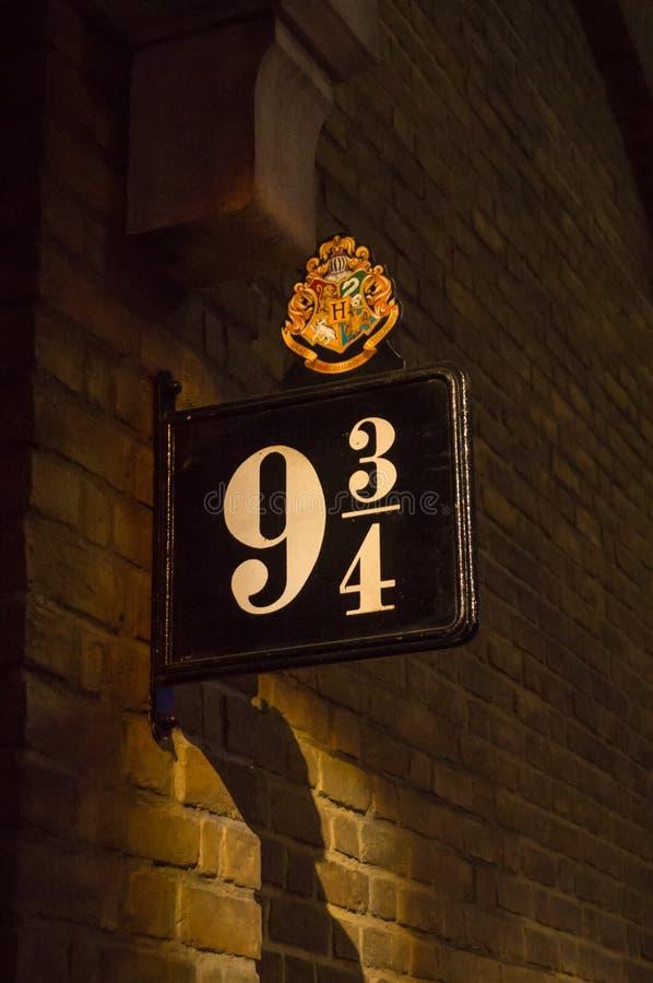 Sign of platform 9 3/4 stock photos