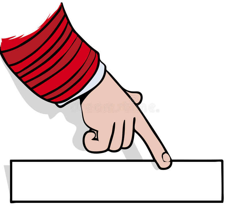 Sign pointing. Hand and finger pointing at blank sign vector illustration