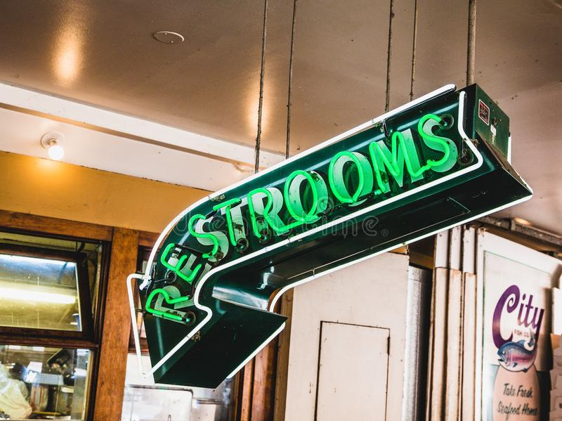 Restrooms in Neon stock photo