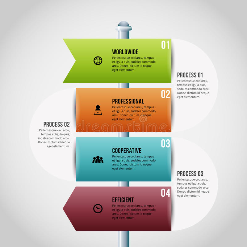 Sign Pole Process Infographic. Vector illustration of sign pole process infographic design element royalty free illustration