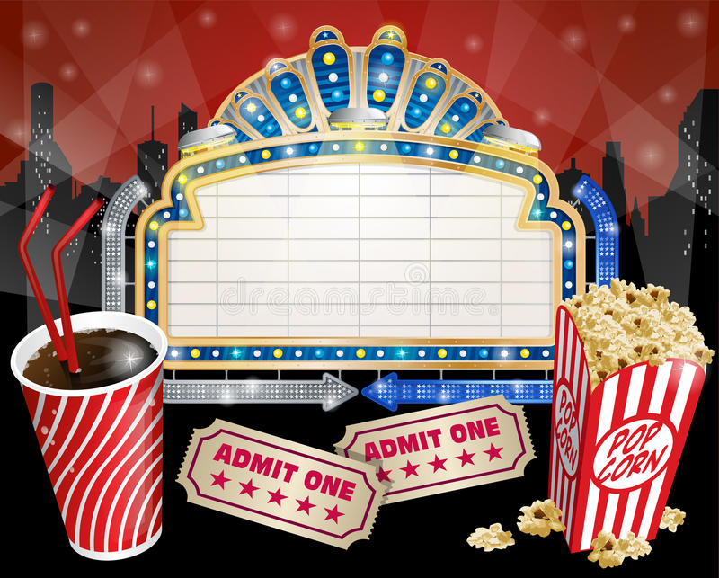 Sign with Popcorn and Cola vector illustration
