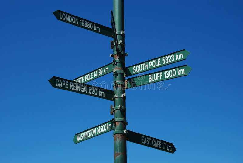 Sign post. In New Zealand north island stock images