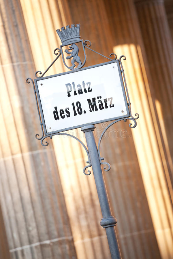 Sign post at the Brandenburg gate in Berlin Germany royalty free stock image