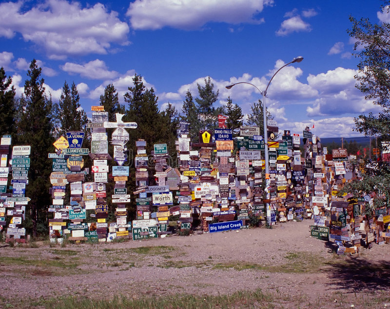Sign Post Forest stock photos