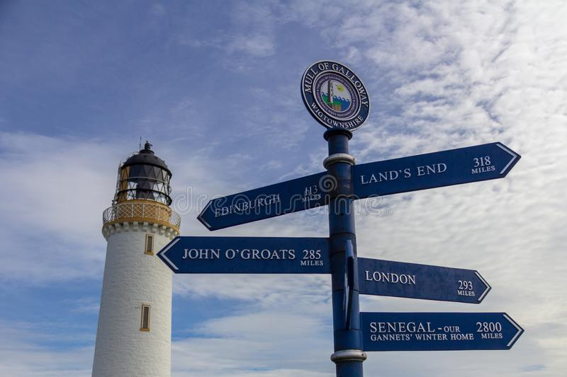 Mull of Galloway lighthouse in Scotland, United Kindom. Sign post in front of the Mull of Galloway lighthouse in Dumfries and Galloway, Scotland, United Kingdom royalty free stock photo