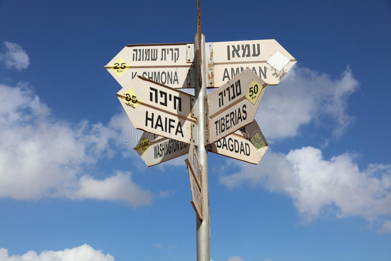 Sign Post at Golan Heights royalty free stock photo