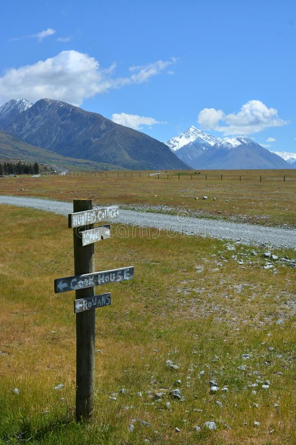 Sign Post on Mesopotamia Station Road, New Zealand stock photo