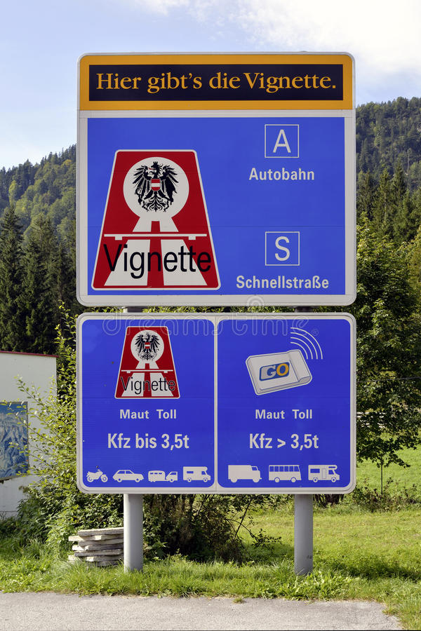 Free Sign Post With Reference To The Vignette Duty In Austria Royalty Free Stock Images - 60764039