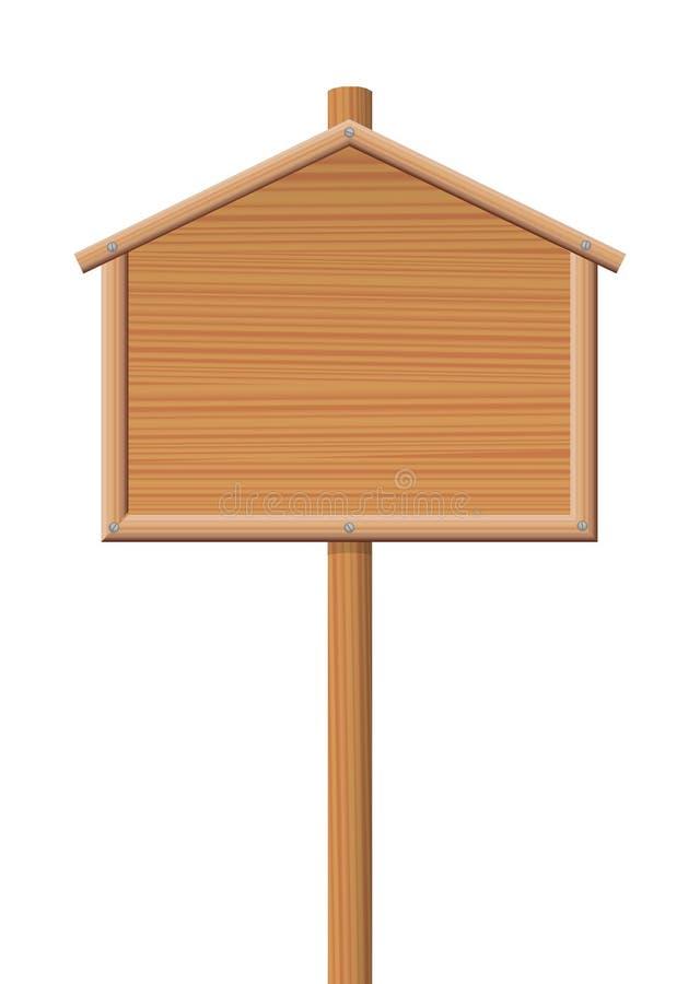 Sign Post Wooden House Shape Symbol royalty free illustration