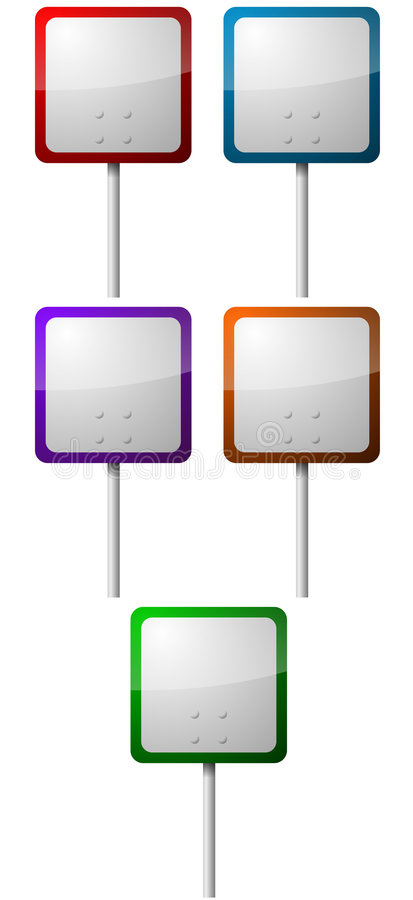 Sign Posts Set. A set of 5 square shaped signposts in various colors stock illustration
