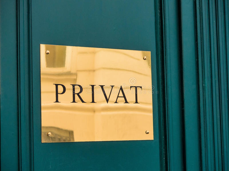 Sign, private. Symbolic photo for a private bank stock photography