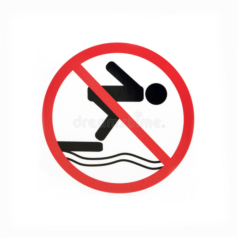 Sign prohibiting diving. On a white background royalty free stock image