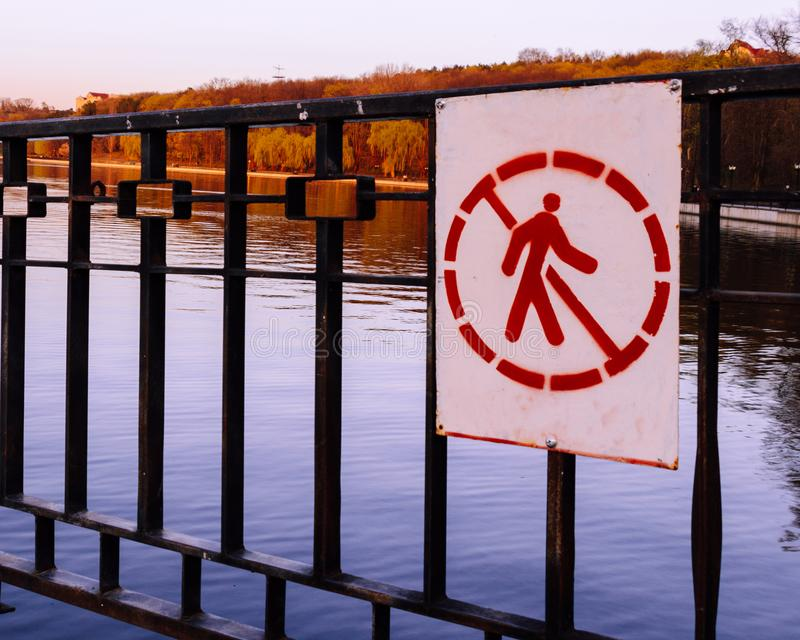 The sign prohibiting entry into the territory stock photo