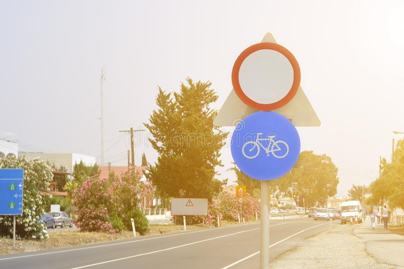 A sign prohibiting the movement of bicycles. A sign prohibiting the movement of bicycles stock image