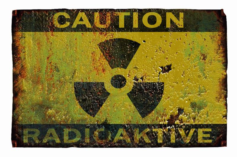SIGN RADIATION, an old rusty sign reading: caution radioactive. 2 royalty free stock images