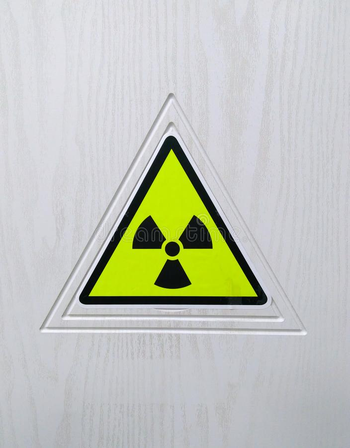 Sign of radioactive danger on a light background. 2019 stock photo