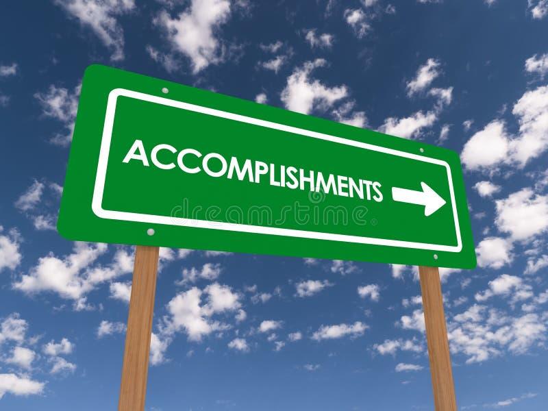 Accomplishments Sign. A sign reading accomplishments against a sunny blue sky vector illustration