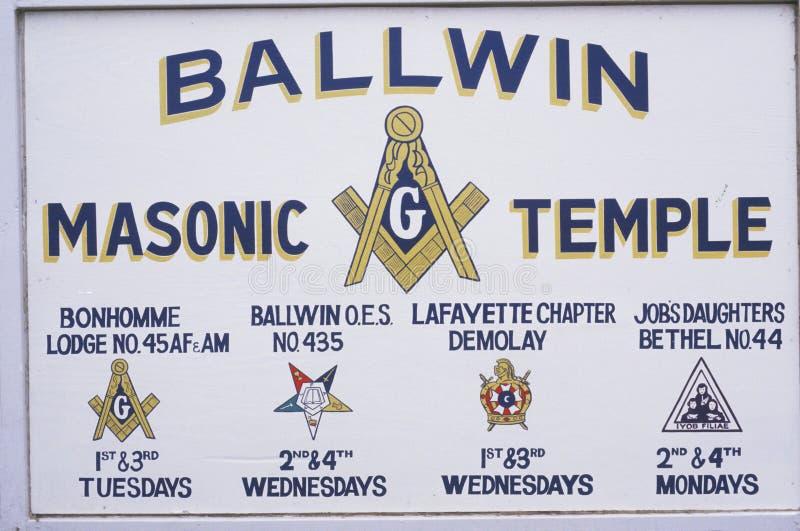 A sign that reads �Ballwin Masonic Temple� stock image