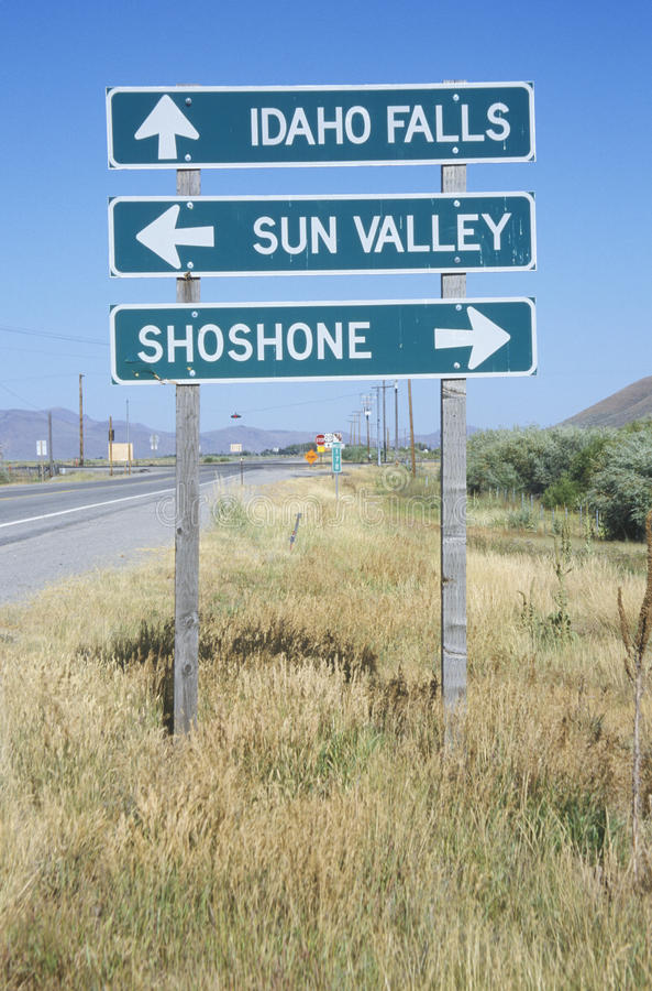 A sign that reads �Idaho Falls/Sun Valley/Shoshone� stock photos