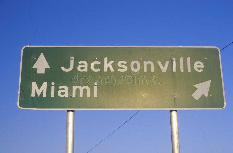 A sign that reads �Jacksonville/Miami� royalty free stock photos