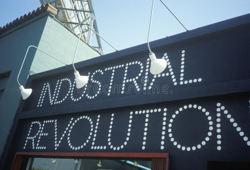 Sign reads Industrial Revolution stock photography