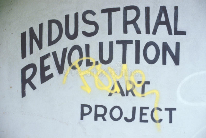 A sign that reads Industrial Revolution Art Project royalty free stock photo