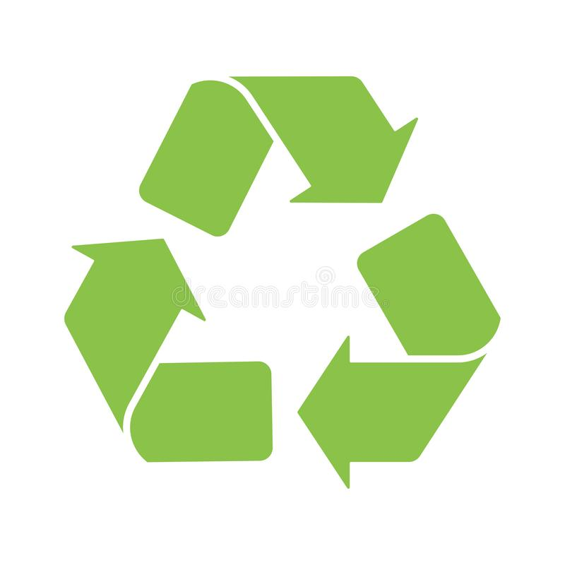 Sign recycle logo icon green white background. Sign recycle logo icon green on white background stock illustration
