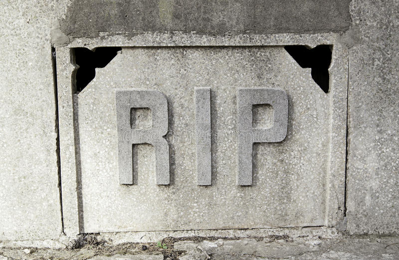 Sign rip in a tomb. Detail of a signal in the cemetery, rest in peace stock image