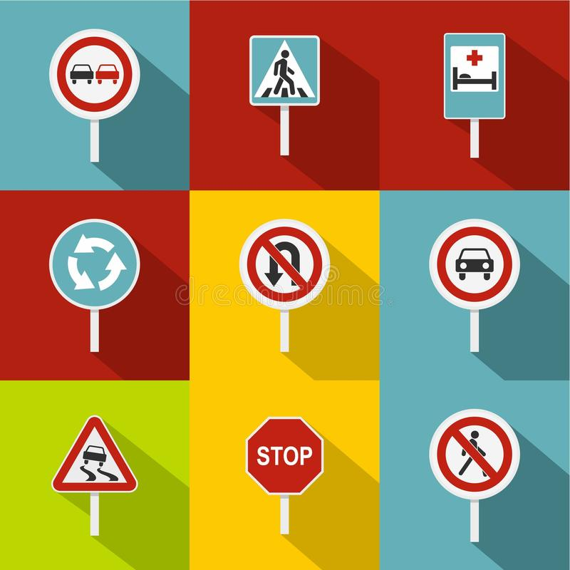 Sign on road icons set, flat style stock illustration