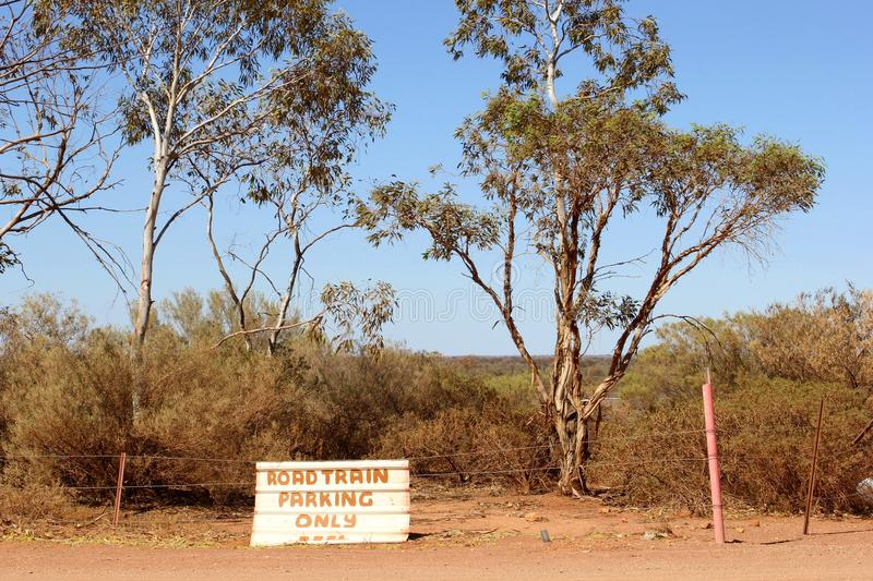 Signboard for freight trailers (Road trains) parking in the Australian Outback. Sign for Road train trailers parking only along the Stuart Highway (A87) between stock photo