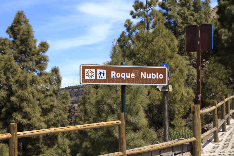 Sign Roque Nublo stock photography