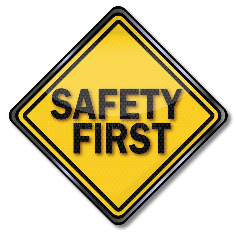 Sign safety first. At work vector illustration