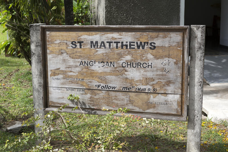 Sign at Saint Matthews church, Praslin island. Seychelles royalty free stock image
