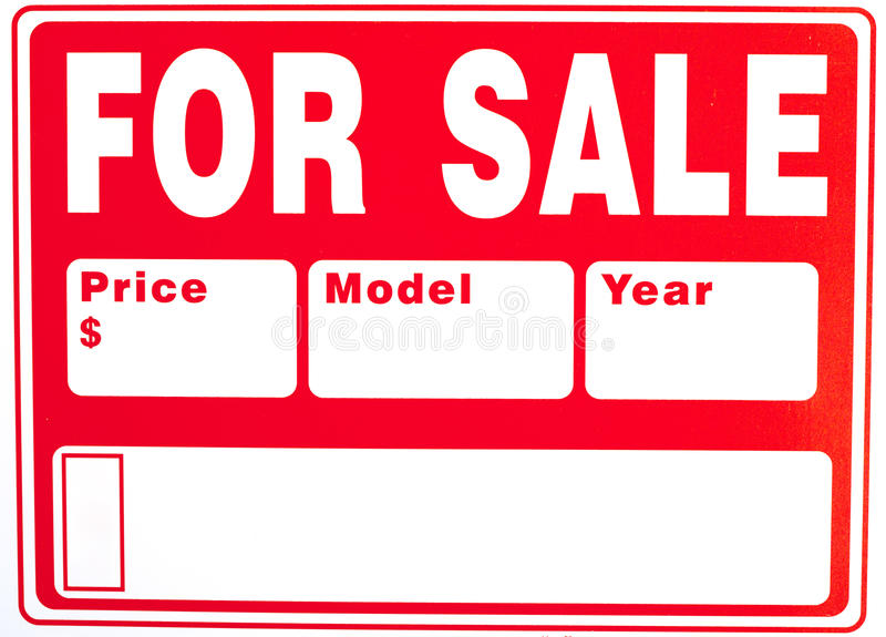 """Sign """"For Sale"""" with Extra Fields. On plastic board; close up royalty free stock images"""