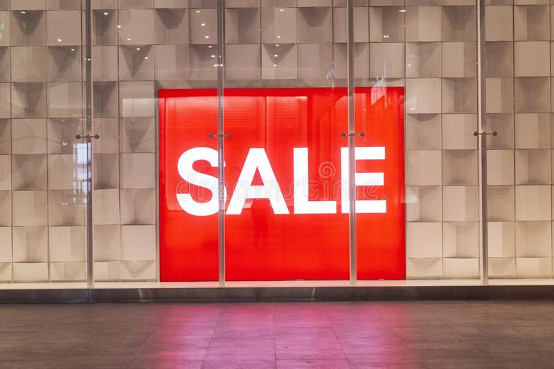Sign Sale in the mall. Sales season in the shops of the city. Horizontal stock photo