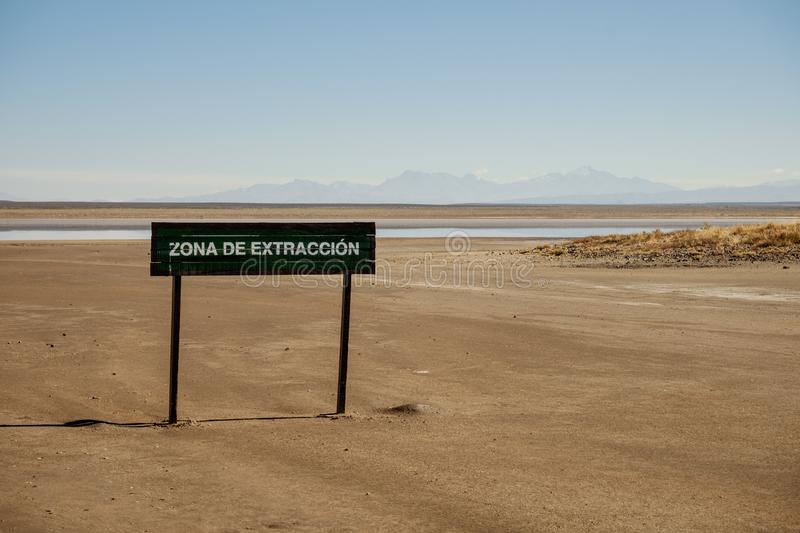 Sign of salt extraction in Mendoza, Argentina stock image