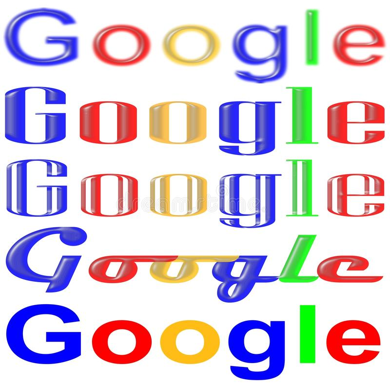 Sign search google in different fonts. Google search engine caption in different fonts family on white background can serve as a design for f shirt and other royalty free illustration