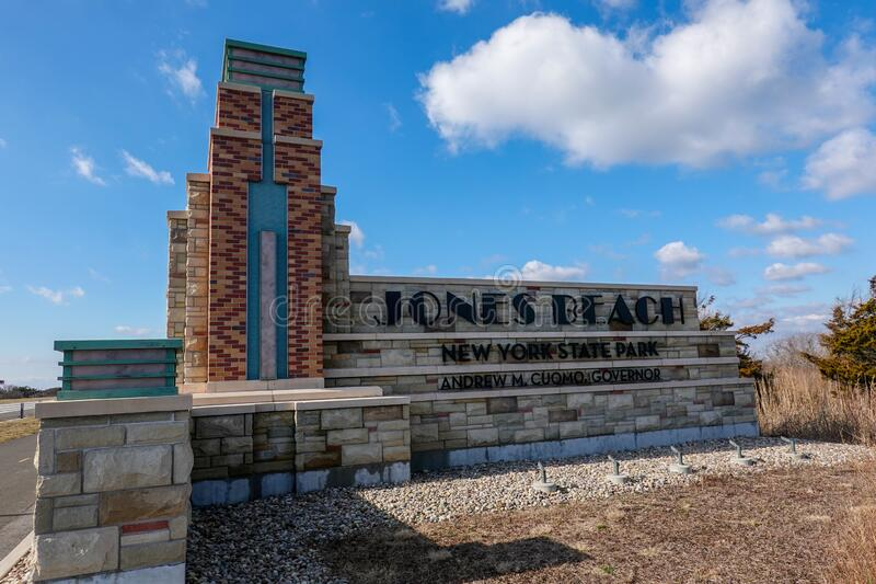 Sign is seen on the Wantagh Expressway at the entrance to Jones Beach in Nassau County, New York stock photo