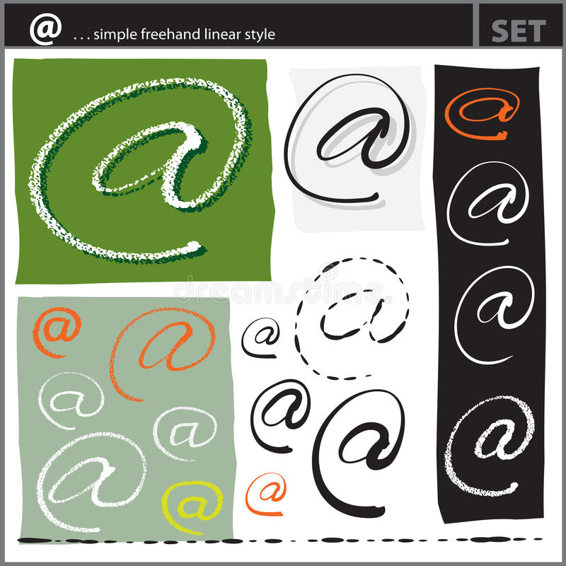 Download At Sign Set (freehand Calligraphic Style) Stock Vector - Image: 19274892