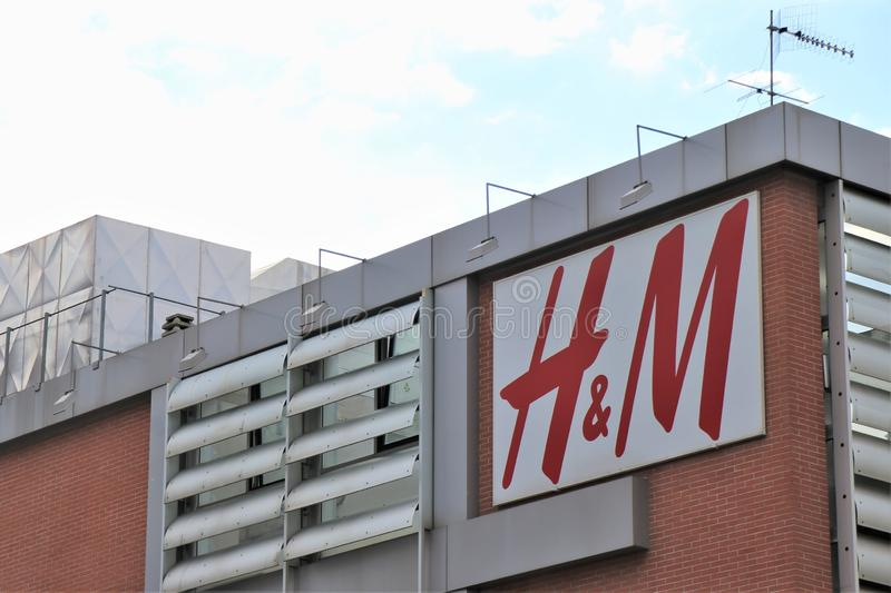 Sign and showcase of the famous clothing and underwear brand ` H&M` royalty free stock photos