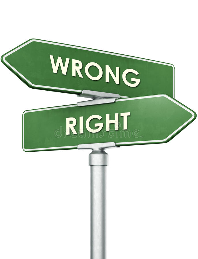 Sign showing direction for right and wrong stock images